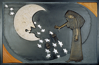 5 of 7 panels. Giricoccola drops the hair pins and bows her head in shame as the Moon expresses her dissapointment. this panel incorporates slate, wood, limestone and bronze